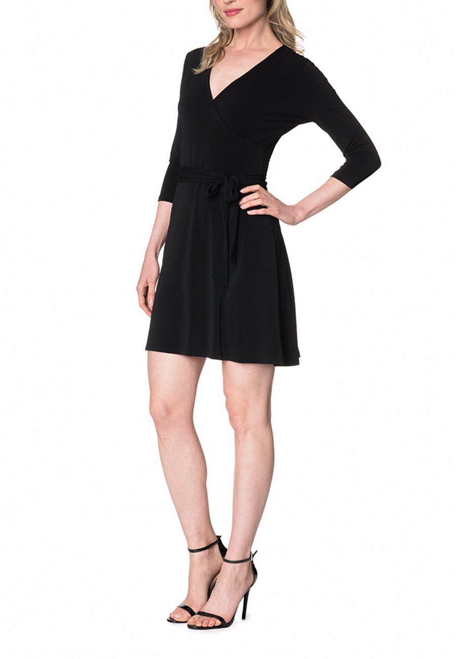 Perfect Wrap Mini Dress  in Black Crepe