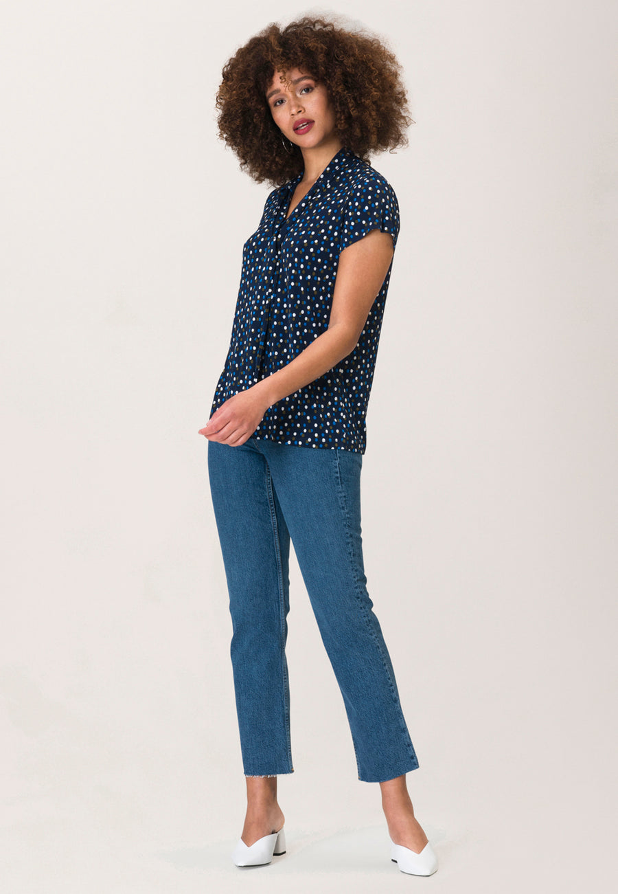 Heidi Blouse in Twilight Dot Classic Navy