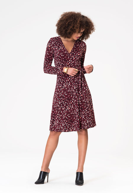 Long Sleeve Perfect Wrap Dress in Bold Cheetah Cabernet