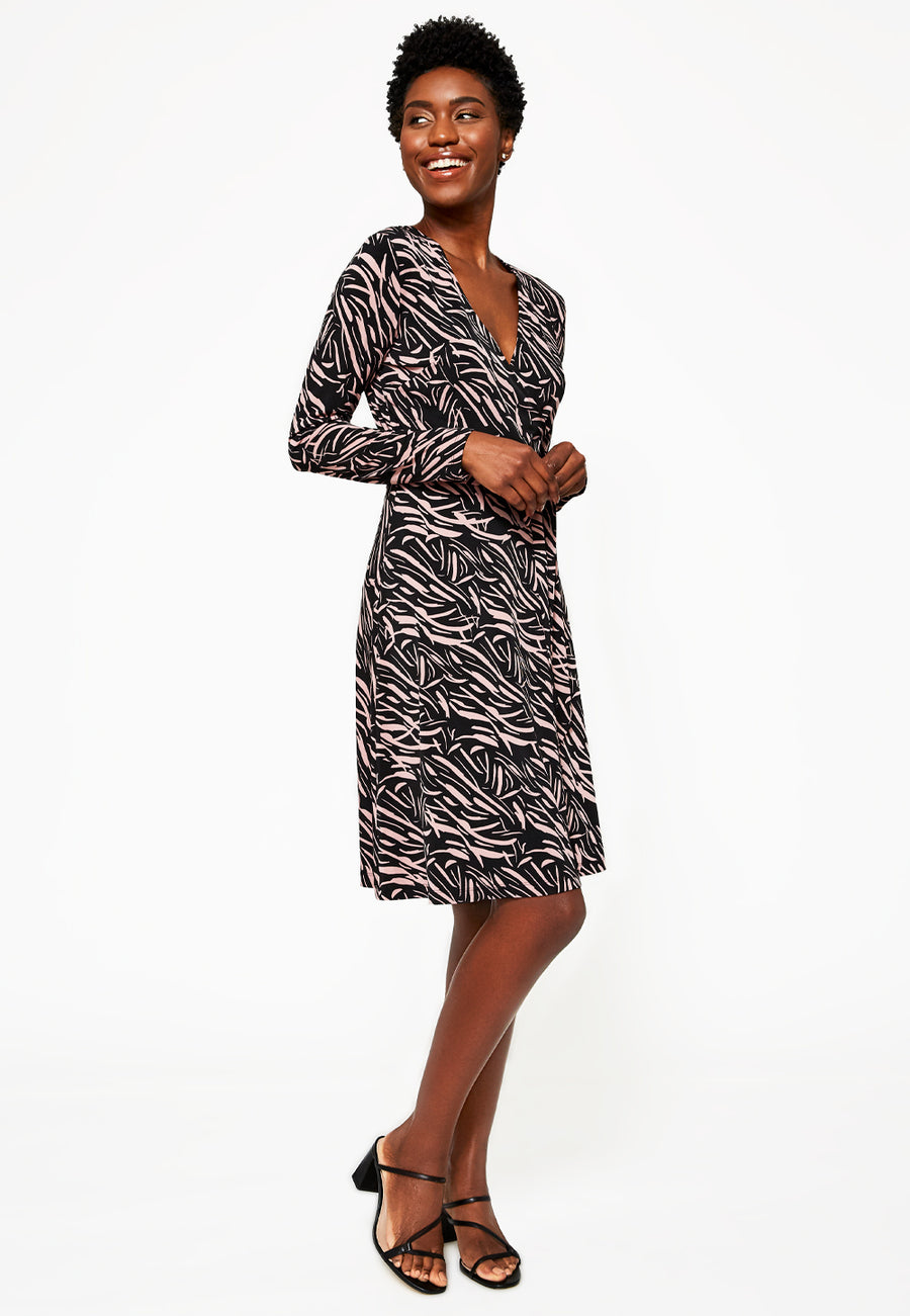 Long Sleeve Perfect Wrap Dress In Painters Brush Wood Rose