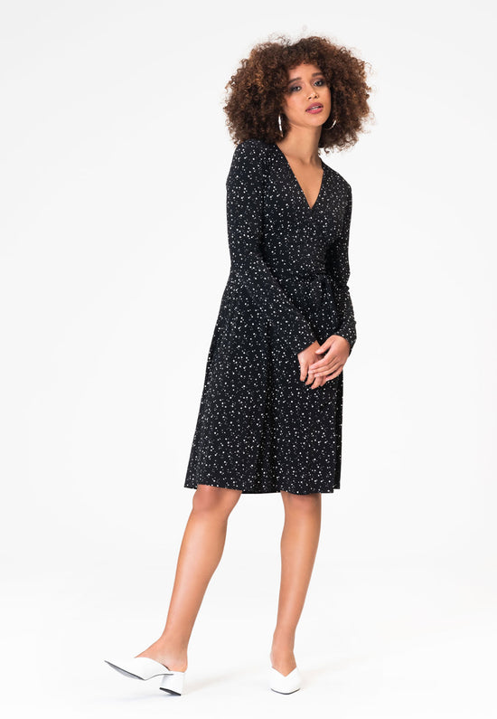 Long Sleeve Perfect Wrap Dress in Starry Night Black