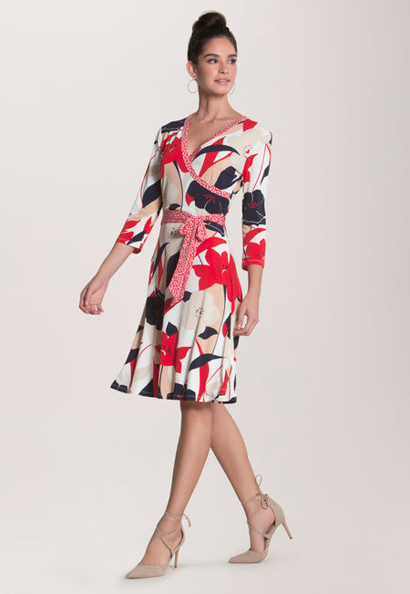 Banded Perfect Wrap Dress in Nautique Floral