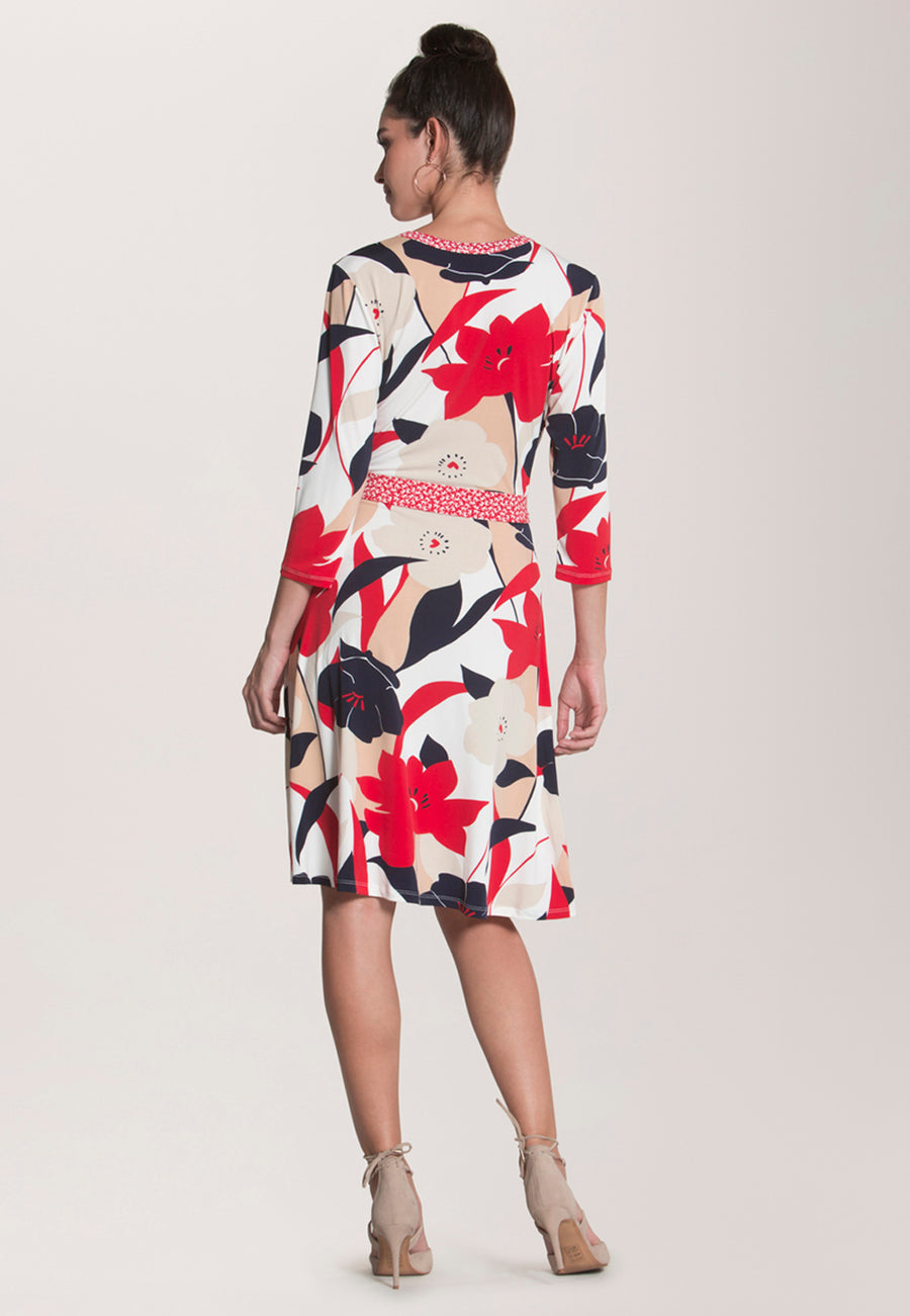 Banded Perfect Wrap  Dress in Nautique Floral Red