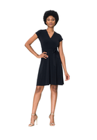 Cap Sleeve Circle  Wrap Dress in Black Crepe