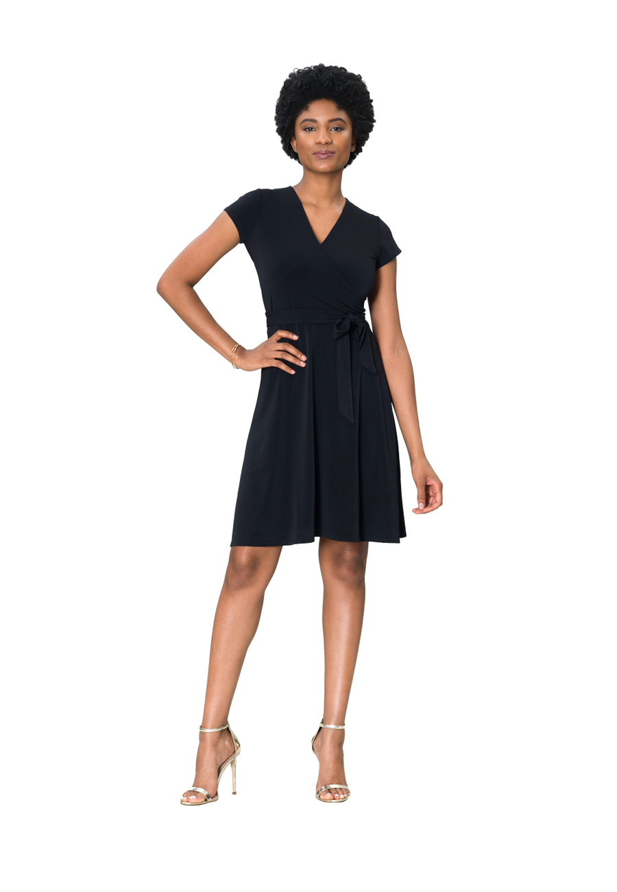 1f1011d72c ... Cap Sleeve Perfect Wrap Dress in Black Crepe ...