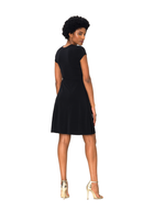 Cap Sleeve Perfect Wrap Dress in Black Crepe