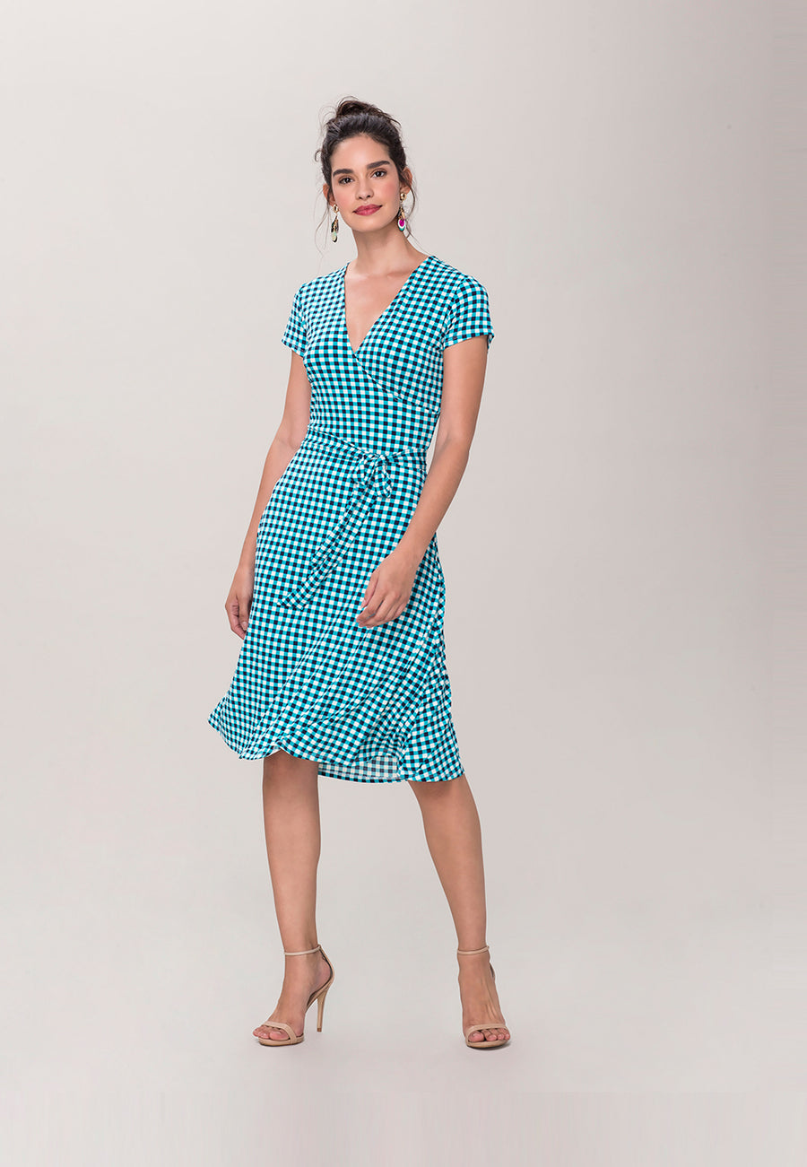 Cap Sleeve Perfect Wrap in Bluebird Gingham
