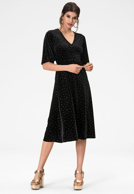 Zoe Dress in Gold Dotted Velvet
