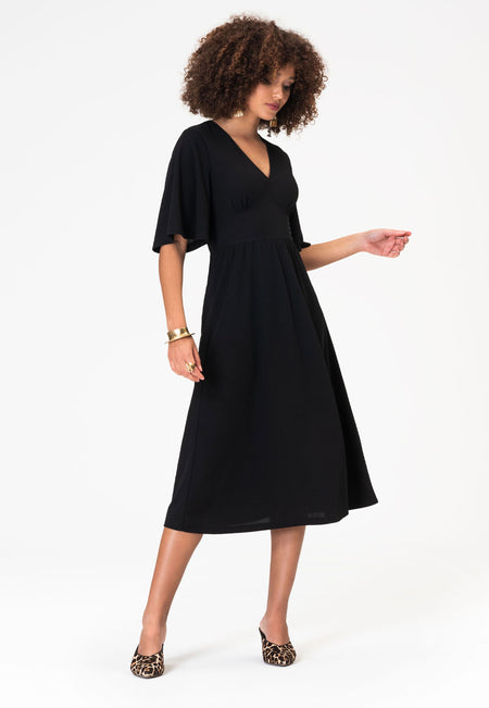 Zoe Dress in Moss Crepe Black
