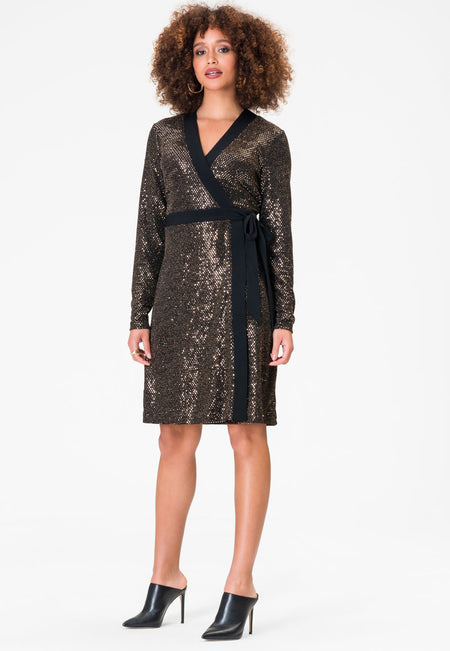 Kara Dress in Gold Sequin