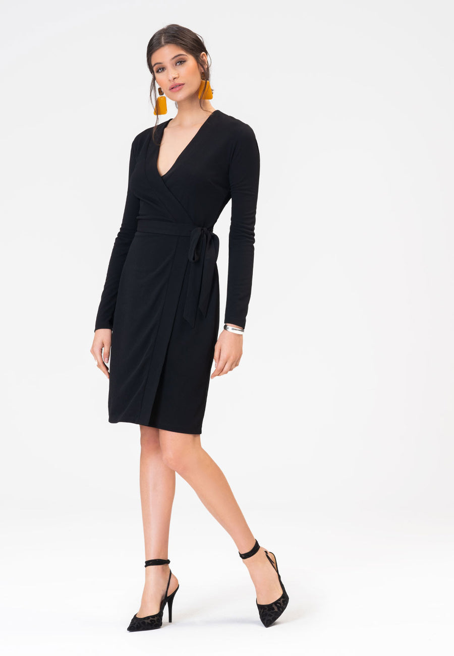 Kara Dress in Moss Crepe Black