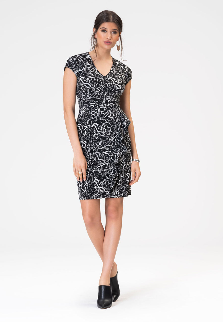 Ella Dress in Autumn Leaves Black