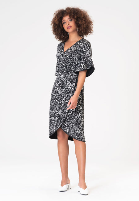 Paige Dress in Autumn Leaves Black