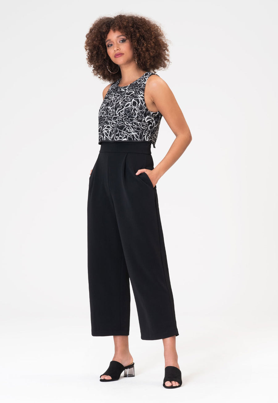 Simone Jumpsuit in Autumn Leaves Black