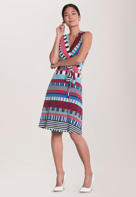 Sleeveless Perfect Wrap Dress in Nautical Flag