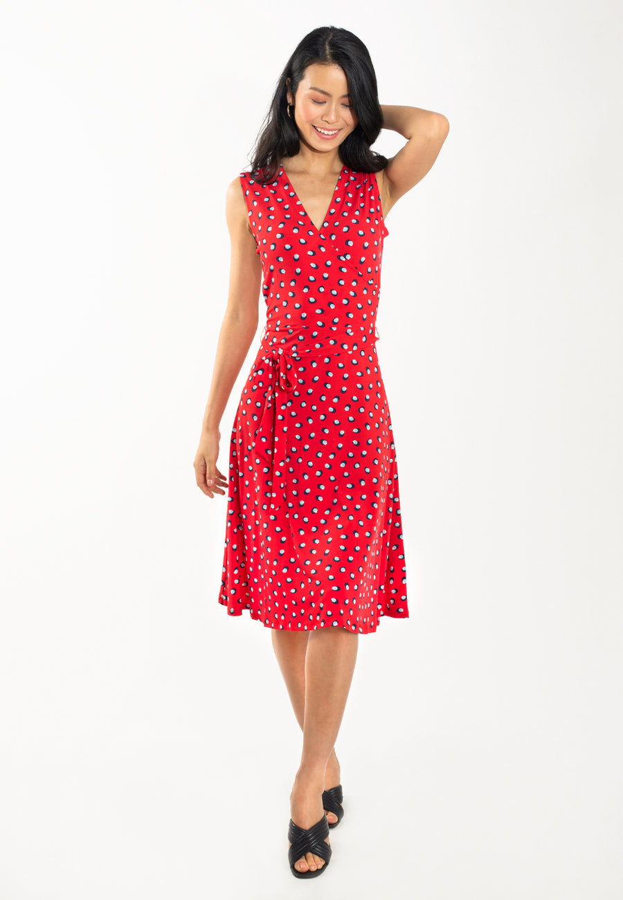 Sleeveless Perfect Wrap in Martini Dot Red