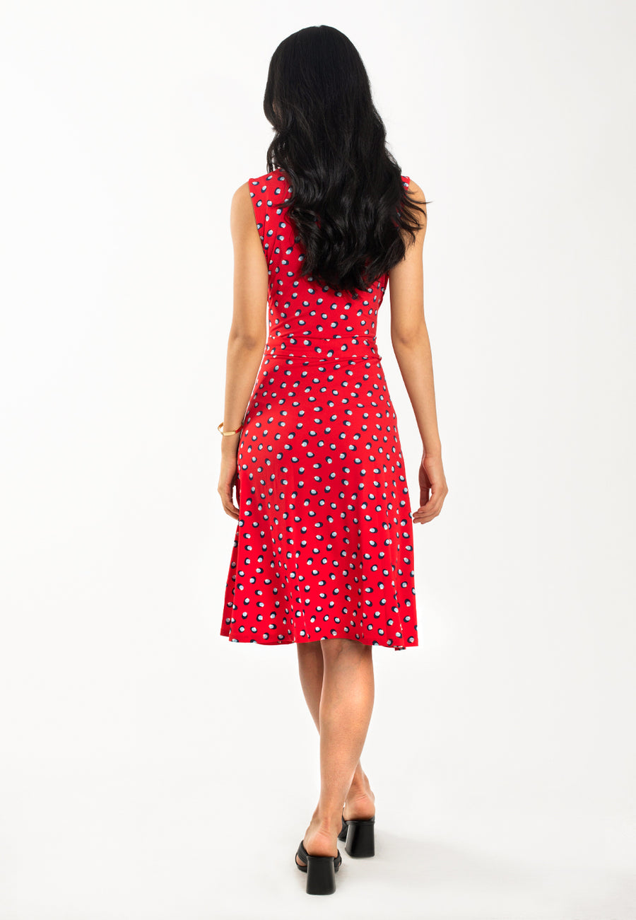 Sleeveless Perfect Wrap Dress in Martini Dot Red