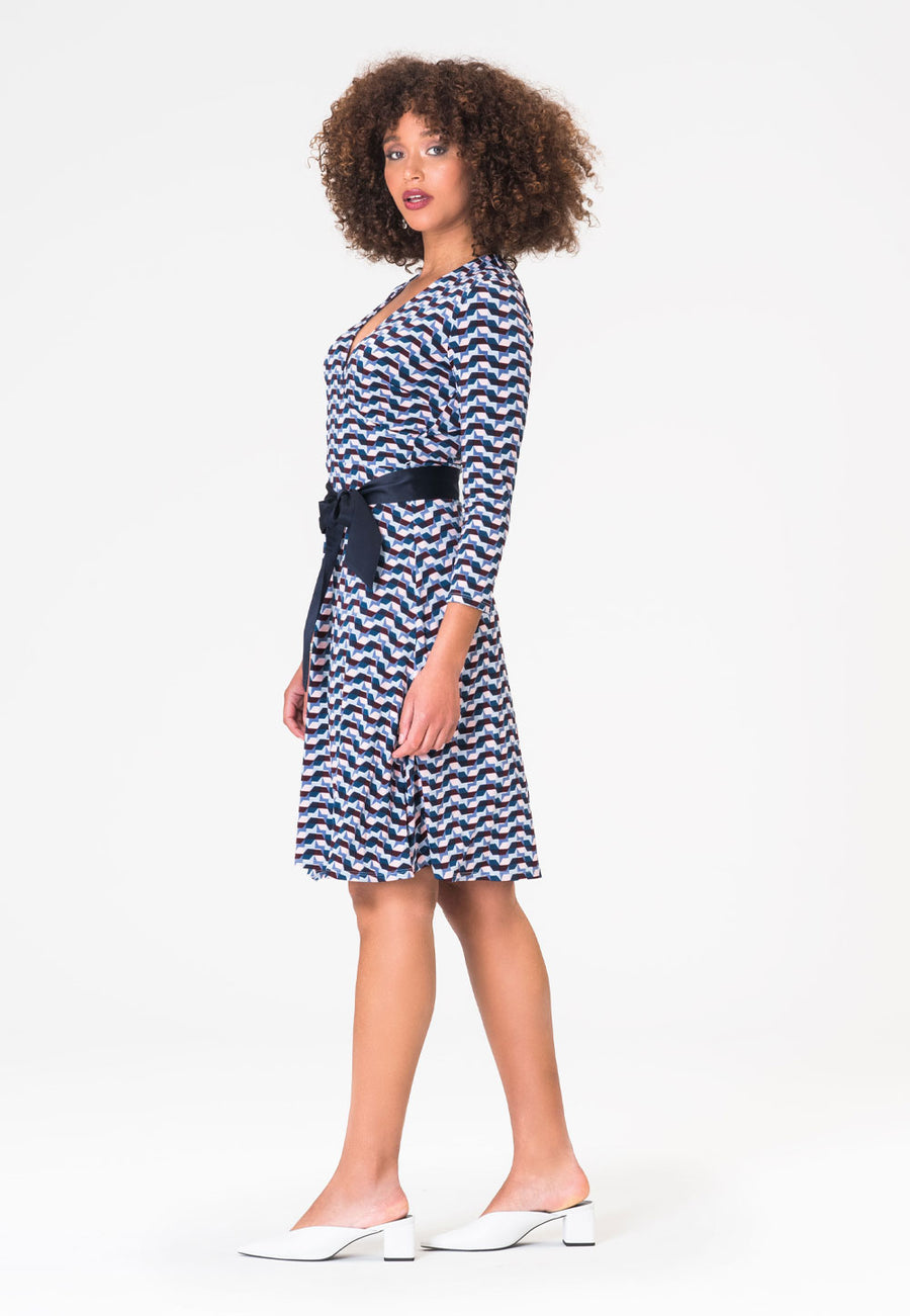 Perfect Wrap Dress in Mod Geo Blue Opal