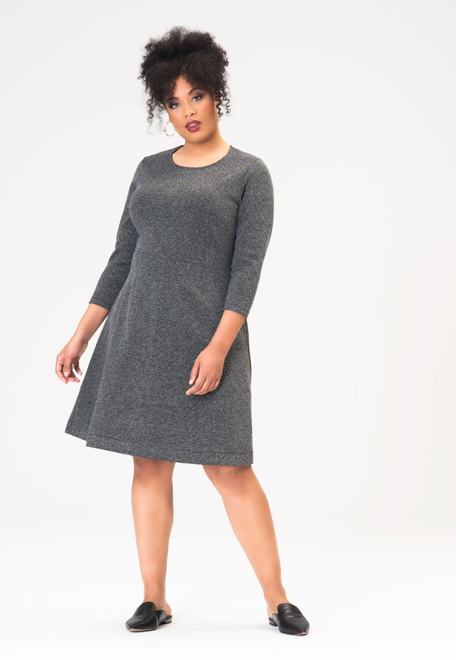 Carly Dress in Salt & Pepper Charcoal (Curve)