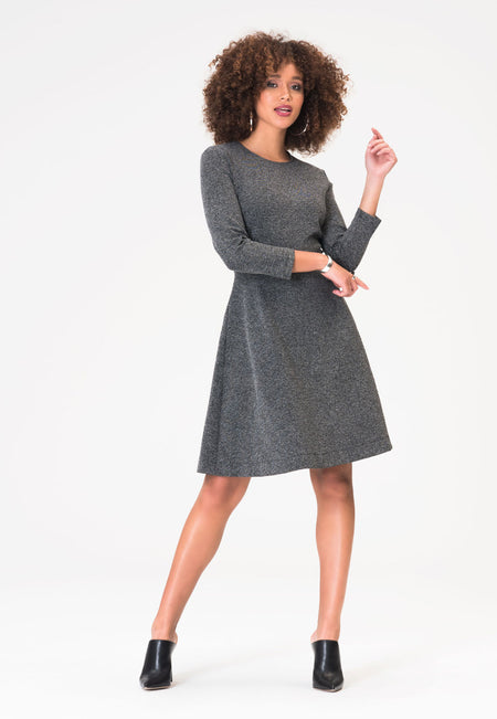 Carly Dress in Salt & Pepper Charcoal