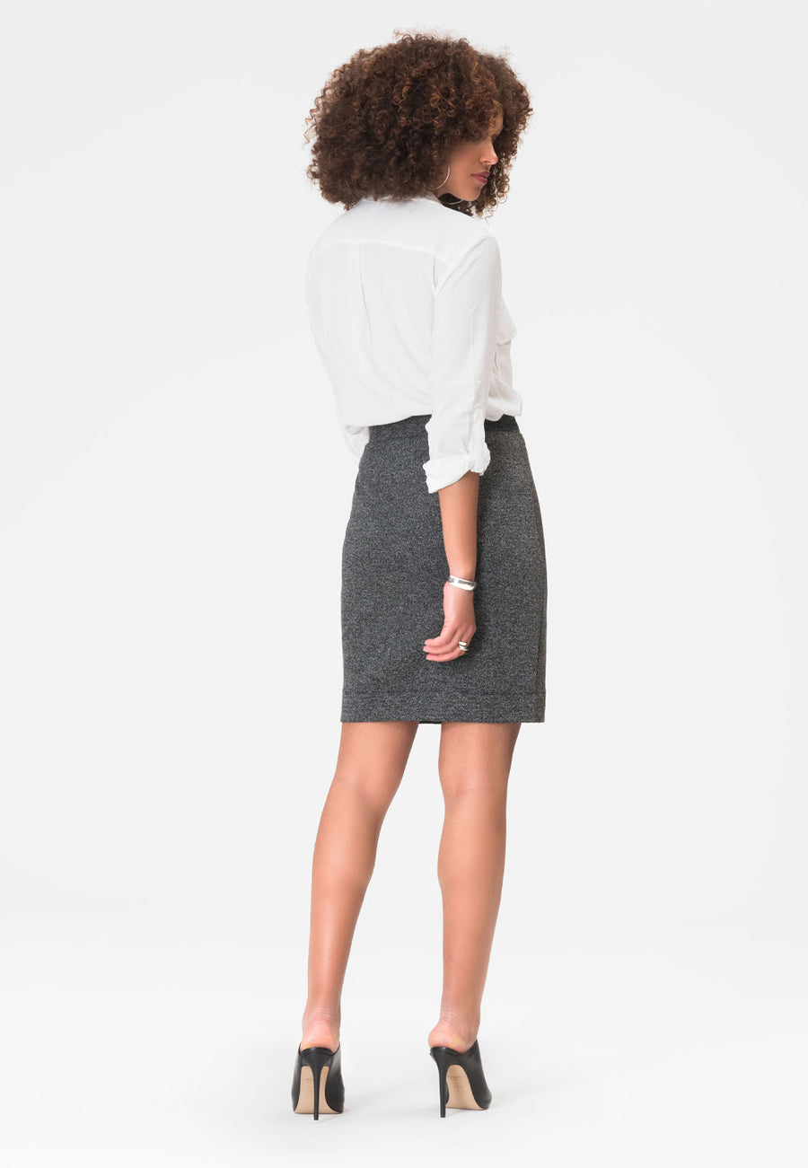 Mira Skirt in Salt & Pepper Charcoal