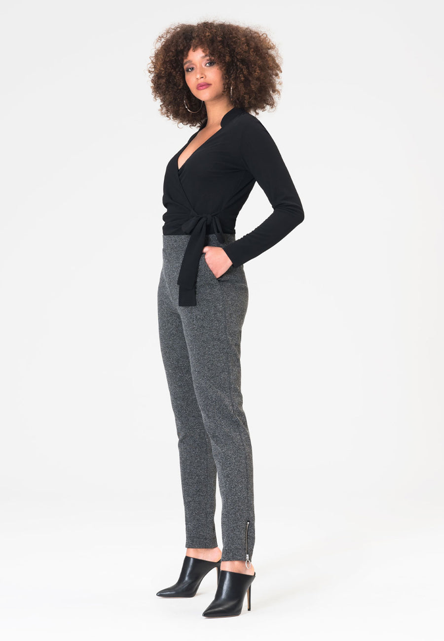 Nola Pant in Salt & Pepper Charcoal