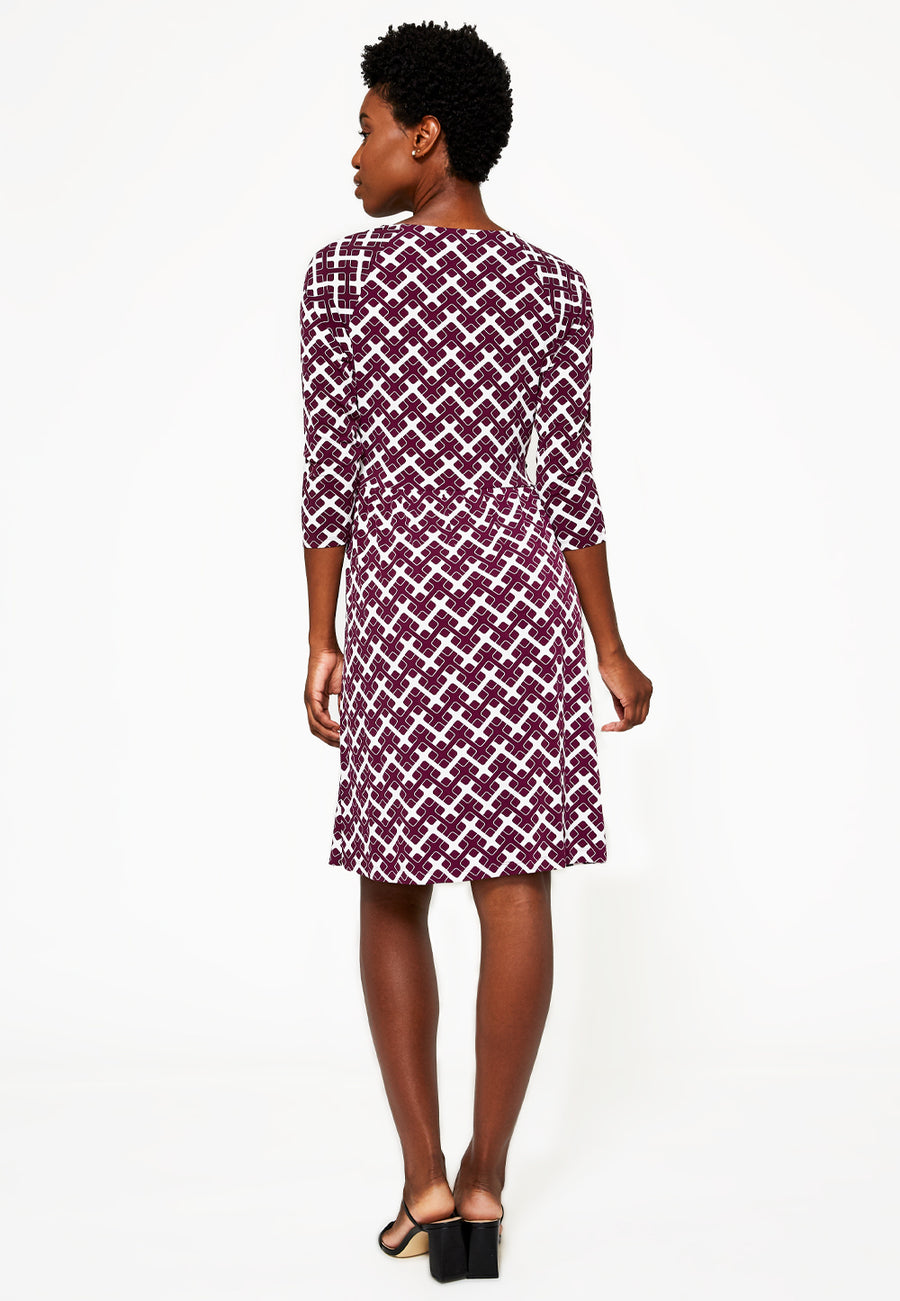 Sweetheart A-Line Wrap Dress in Retro Squares