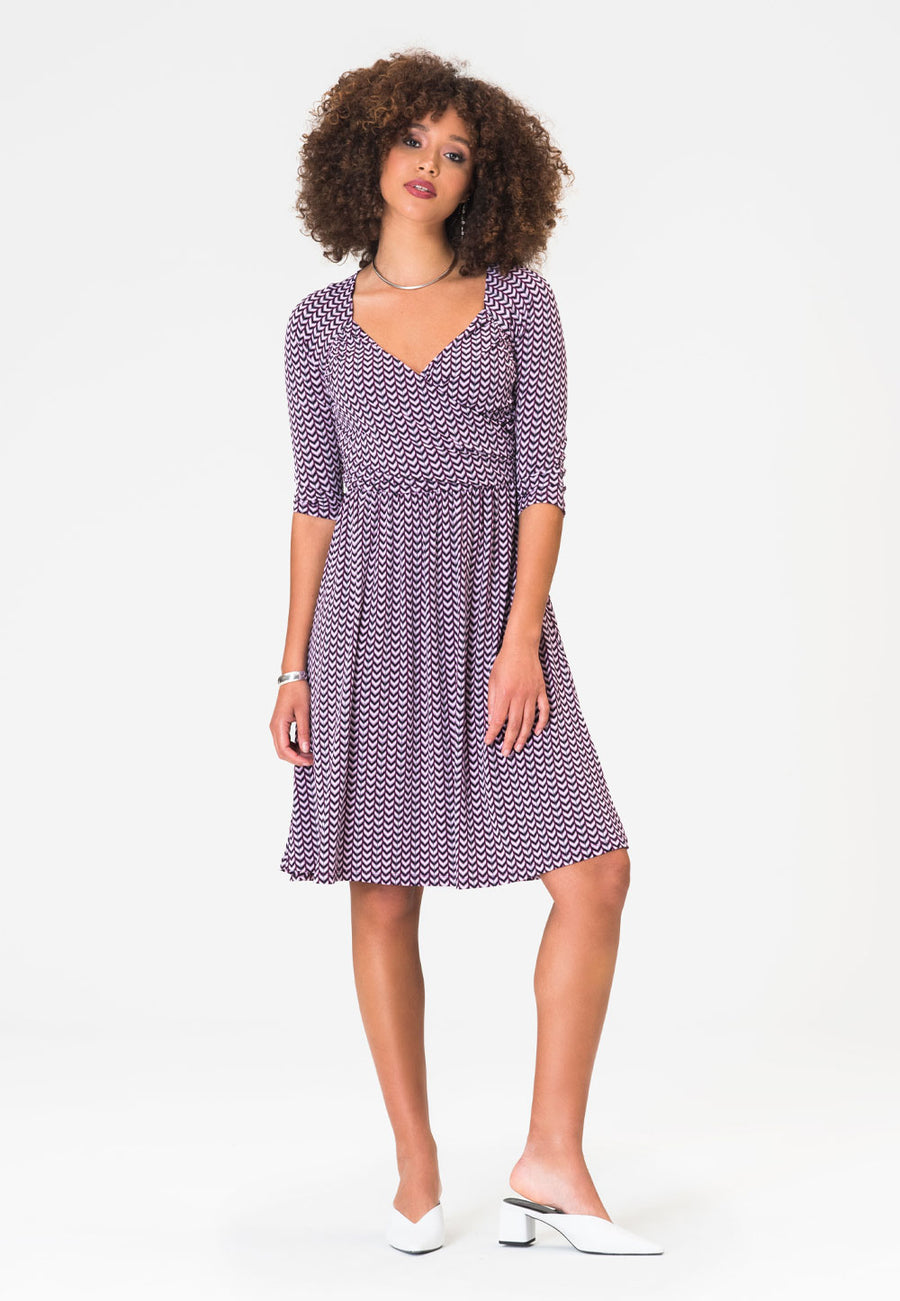 Sweetheart A-Line Dress in Striped Herringbone Purple