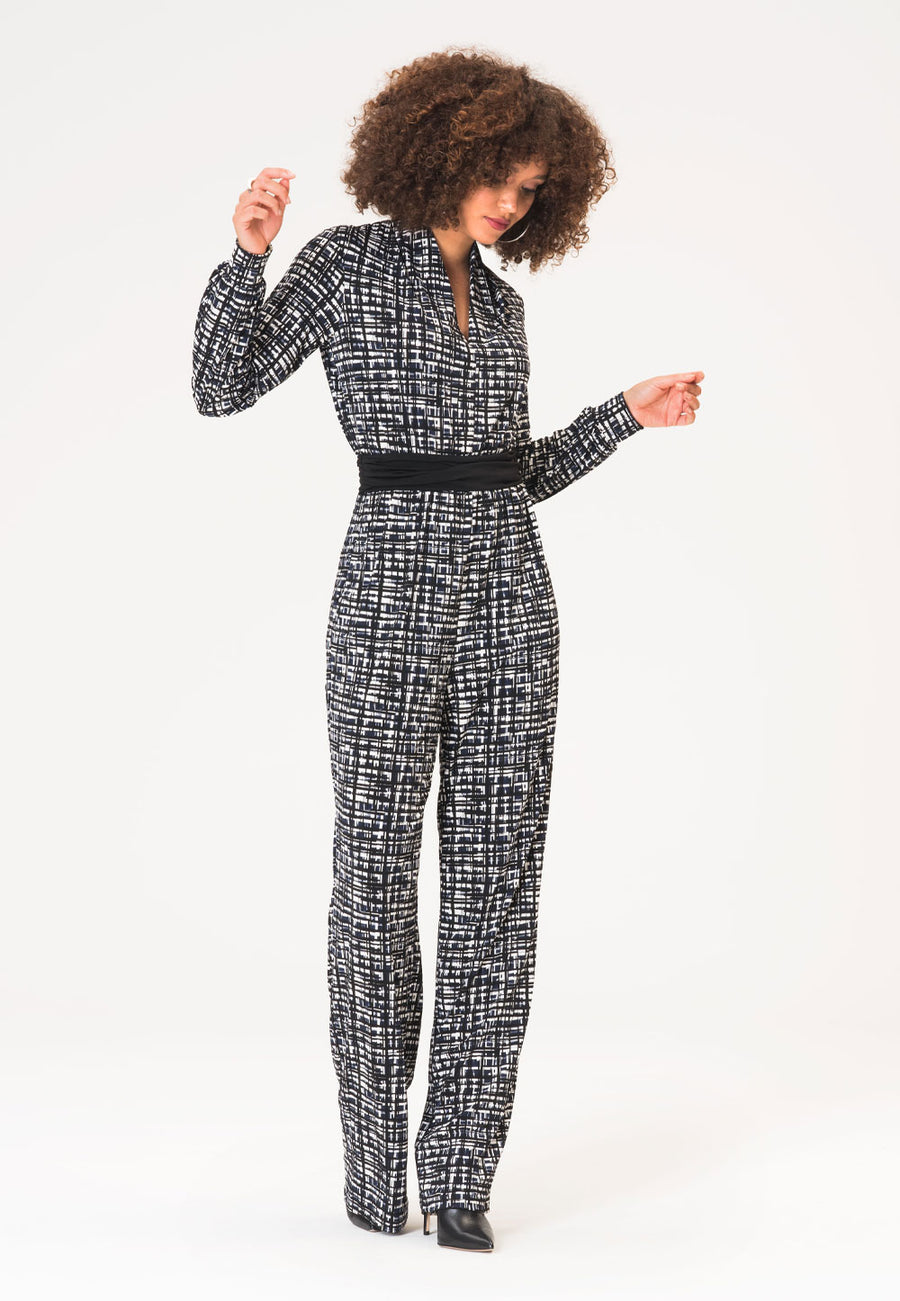 Corinne Jumpsuit in Brush Strokes Classic Navy