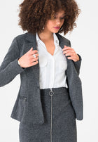 Olivia Blazer in Salt & Pepper Charcoal