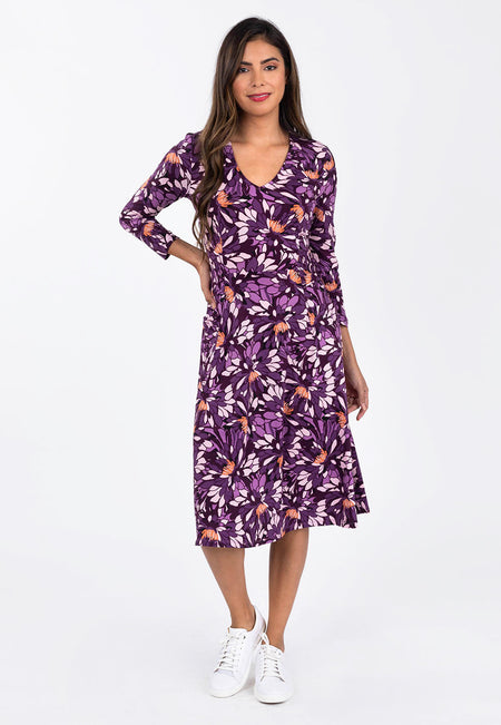 Leota Eliza Dress in Lavish Sunset Purple Front