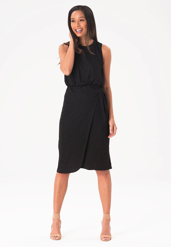 Helene Dress in Tonal Cheetah Black