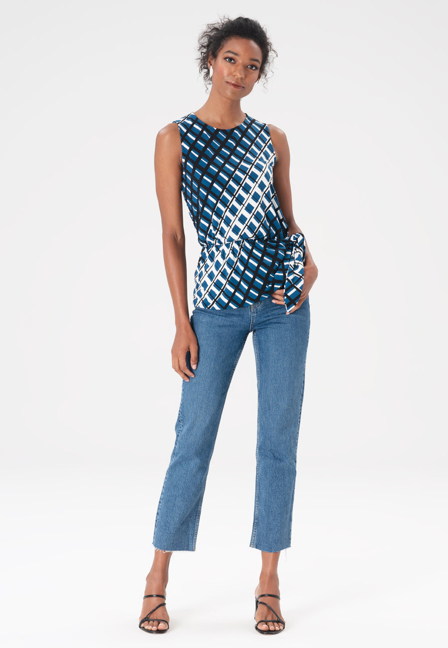 Leota Helene Top in Criss Cross Dark Blue