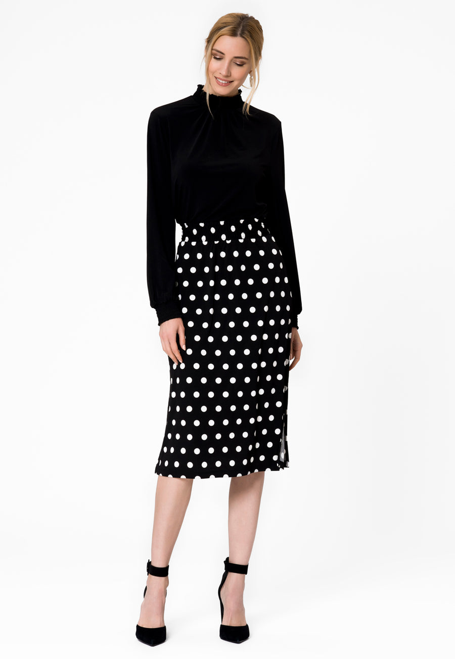 Leota Tessa Skirt in Polka Black Front