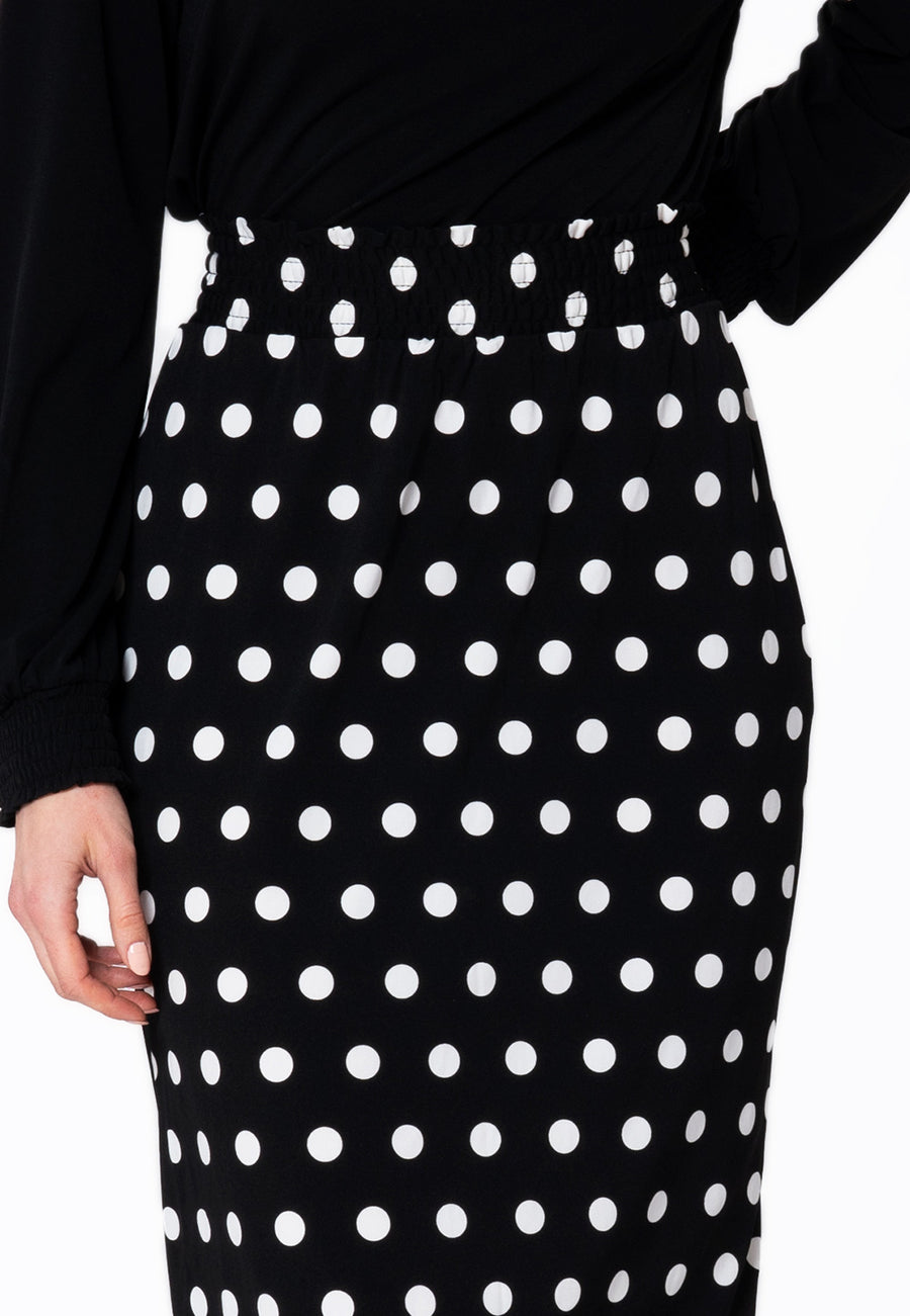Leota Tessa Skirt in Polka Black Closeup