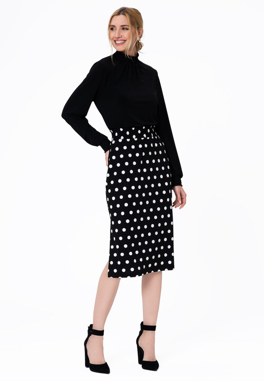 Leota Tessa Skirt in Polka Black Side