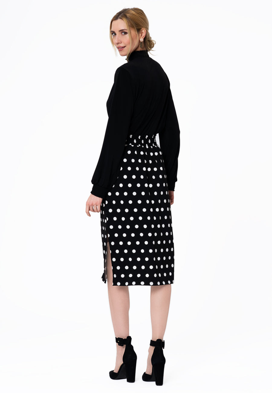 Leota Tessa Skirt in Polka Black Back