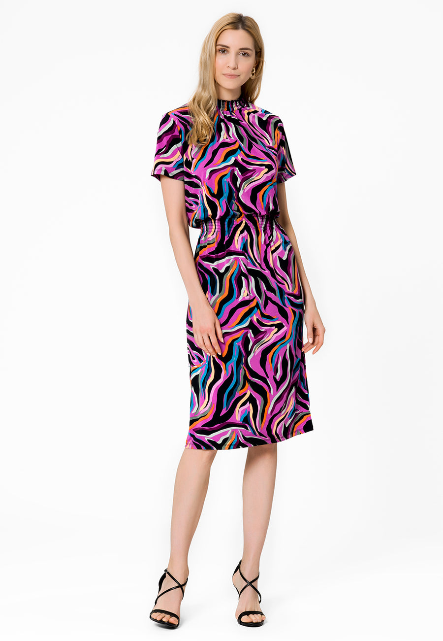 Leota Samantha Short Sleeve Dress in Vivacity WiloowHerb Front