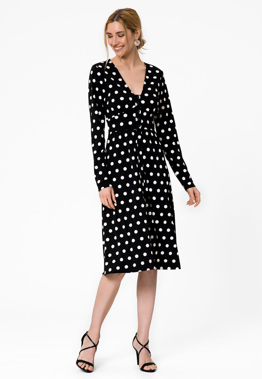 Leota Juliana Dress in Polka Black Side