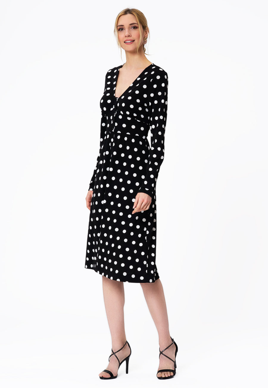 Leota Juliana Dress in Polka Black Front