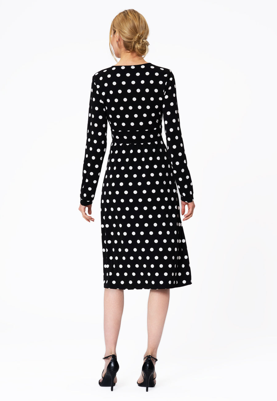 Leota Juliana Dress in Polka Black Back