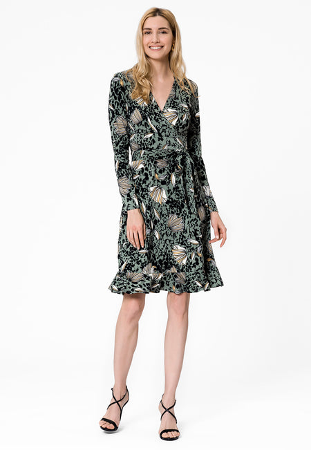 Perfect Wrap Ruffle Hem Dress in Falling Flower
