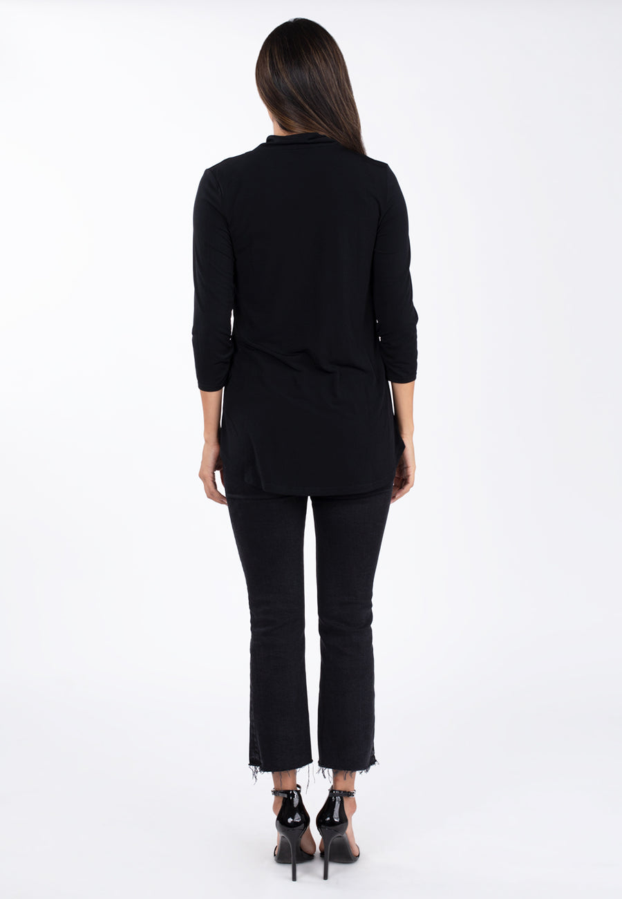 Long Sleeve Face Cover Tunic in Black