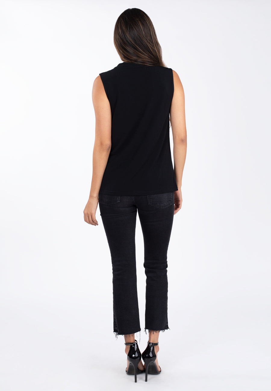 Sleeveless Face Cover Tunic in Black