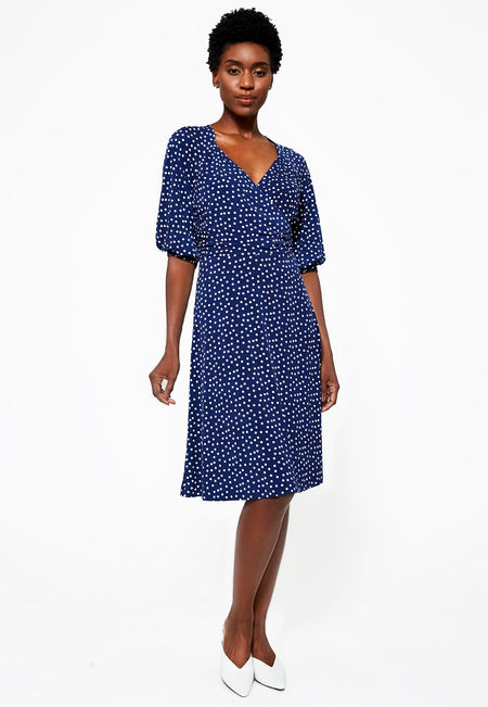 Leota Sweetheart Becca Dress in Confetti Dot Medieval Blue
