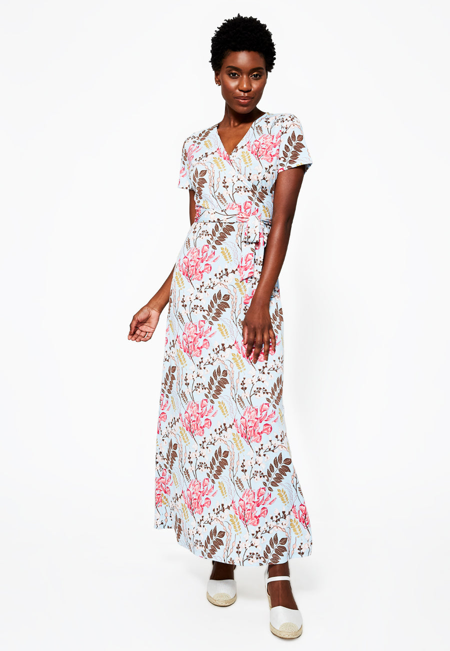 Perfect Wrap Short Sleeve Maxi in Charming Floral