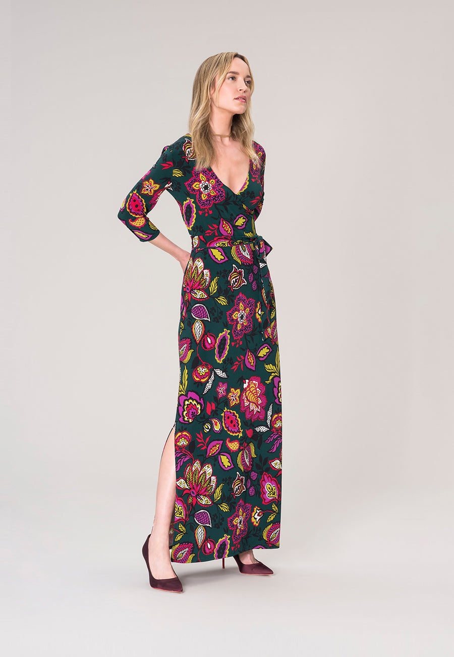 Perfect Wrap Maxi Dress  in Tapestry Green
