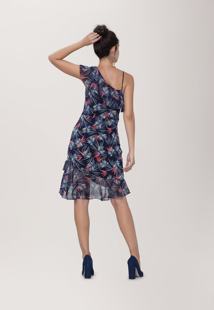 Tereza  Asymmetrical Dress in Agave Blue