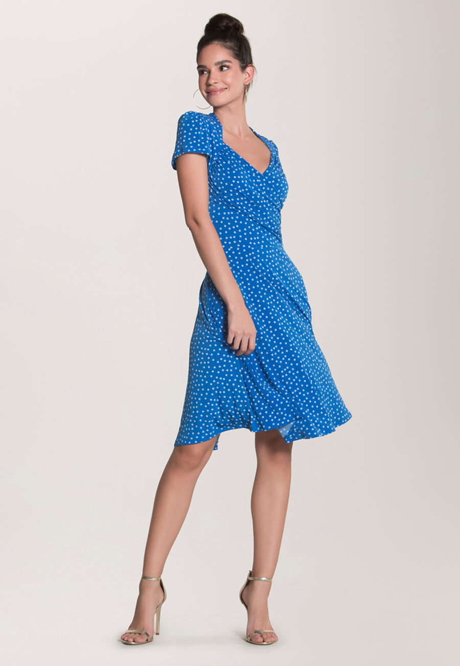 Sweetheart A-Line Dress in Confetti Dot Nebulas Blue
