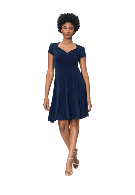 Sweetheart Dress in Classic Navy Crepe